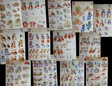 A4 3D Paper Tole Beatrix Potter Peter Rabbit Tom Kitten Jermina Puddleduck NEW