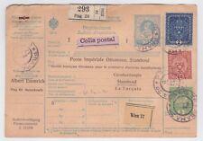 PRAGUE CZECHOSLOVAKIA 1917 WW I PARCEL CARD TO TURKEY