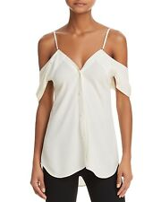 3430ff75bf8308 Theory Womens Ivory Silk Cold Shoulder Convertible Blouse Top P XS BHFO 9552