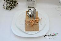 6 x Burlap Cutlery Holders, Silverware Pockets, Gold Ribbon Bow Trim Set Wedding