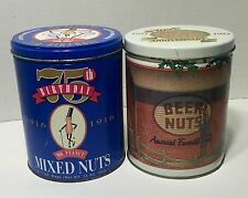 2 Vintage Planters Nuts 1991 Mr Peanut 75th Beer Nuts Tin Canisters LOT ~ Cool!