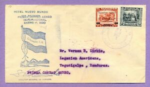 El Salvador = First flight cover San Salvador to San Lorenzo, Honduras.