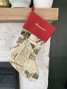"""Pottery Barn Christmas Stocking Mono """"Alexander"""" Vintage Postcard Print  NWOT"""
