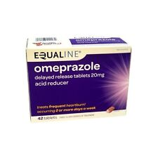 NEW SEALED EQUALINE OMEPRAZOLE 20 mg 42 TABLETS ACID REDUCER 12/18 FREE USA Ship
