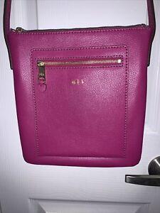 Lauren Ralph Lauren Pebble Leather Small Fuchsia Crossbody Handbag/Purse