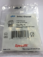 """John Guest CI 010822W 1/4"""" OD tube to 1/4"""" NPTF straight adapter (bags of 10)"""