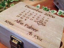 Personalised Wooden Baby Keepsake Calendar Box Special Gift Memory Box Trinket