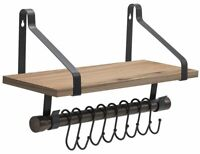 Sorbus Wall Shelf with Hooks, Rustic Wood Rack with Towel Bar and 8 Removable...
