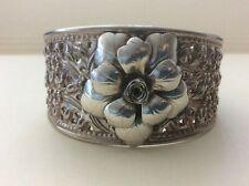 Rose flower Cuff Bracelet 925 Thailand Sterling Silver Floral