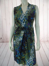 KENNETH COLE Dress 4 Silk Faux Wrap Lined Olive Purple Aqua Yellow Abstract CHIC
