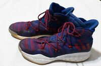 MEN'S ADIDAS GEOFIT HIGHTOP BASKETBALL SHOES.BLUE.RED WHITE.SIZE 16