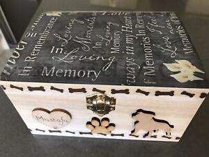 DOG PET IN LOVING MEMORIAL WOODEN KEEPSAKE MEMORY BOX ASHES PERSONALISED GIFT