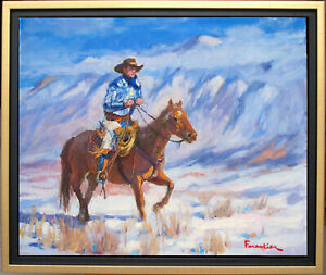 HORSEMAN IN WINTER~LISTED ARTIST~ORIGINAL OIL PAINTING BY MARC FORESTIER