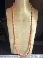 VTG Pink Blush Angel Skin Natural Coral Necklace Beaded Authentic Not Dyed