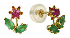 Adorable Stud Earrings Gold Ruby Emerald