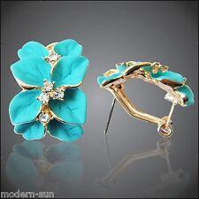 Rhinestone Blue Green Enamel Leaves 18K GP Crystal Buckle Earrings E2012