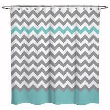 Zigzag Stripes Chevron Waterproof Fabric Bathroom Shower Curtain Gray Green