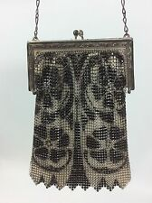 Art Deco Whiting and Davis Floral Black Silver Mesh Metal Bag Purse Vintage