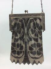 Art Deco Whiting and Davis Floral Black Silver Mesh Metal Bag Purse Vintage