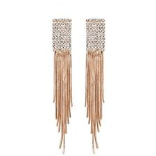 Sparkly Auden Rhinestones Rose Gold Plated Long Drop Dangle Earrings Jewellery