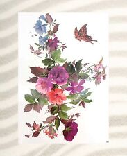 """US SELLER-temporary tattoo rose butterfly flower large 8.25"""" half-sleeve arm"""