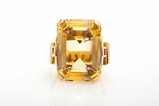 Antique RETRO 1940s 30ct Natural Emerald Cut Citrine Ruby 14k Yellow Gold Ring