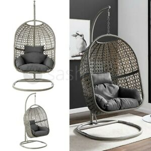 Hanging Cocoon Egg Chair Garden Swing 1/2 Person Hammock Removable Cushions UK