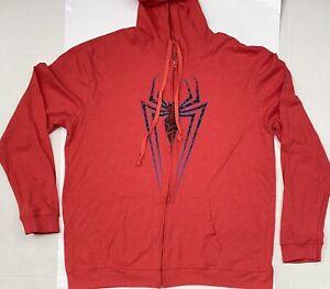 Marvel Men's Ultimate Spiderman Zip Up Hoodie Red Size 2XL