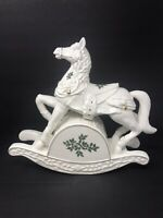 Vintage White Gold Porcelain Musical Rocking Horse Holly Berries Christmas Decor