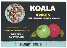 KOALA, Vintage Tasmania, Australia, *AN ORIGINAL CRATE LABEL* Granny Smith S45