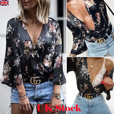 UK Women's V Neck 3/4 Sleeve Black Floral T-Shirt Ladies Party Blouse Beach Tops