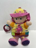 """Lamaze Soft Baby Doll Pink Purple Hanging Baby Toy Rattle Crinkle 11"""" Tall Plush"""