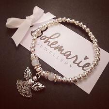 Silver & White agate guardian angel bracelet gemstone jewellery boho gypsy