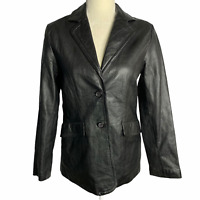 Vintage Soft Leather Jacket S Black Pockets Lined Lightweight Buttons Collared