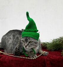 Elf cat hat Xmas Christmas costume outfit Santas helper crochet holiday pet hat