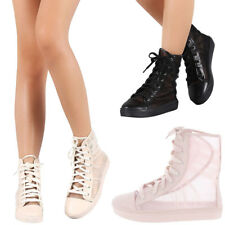 NEW Pleated Sheer Mesh Lace Up Low Flat Platform Heel Ankle Booties Boot Sneaker
