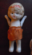 "Vintage 1920s Japan Jointed Arms Bisque Girl Character Doll 3 5/8"" Tall #2"