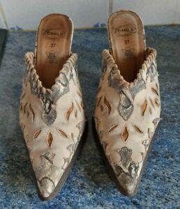 Mules à talon 6,5/ 7,5cm, beige, marque Cable, Taille 37