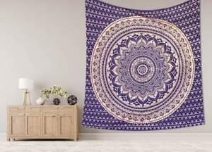 Reine Taille Mandala Imprimé Motif Coton Tapisserie Mural Couvre-Lit Suspendu