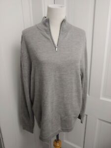 Garret Scott Mens Size Large 1/4 Zip Gray Sweater