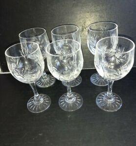 Good vintage cut crystal glass set of 6  SHERRY / PORT GLASSES.