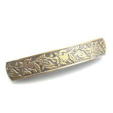 """Unique 3.5"""" Satin Gold Silver Flowers Barrette Vintage Style Metal Hair Clip"""