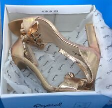 Cupid HURST-Rose Gold Distress Metallic Ruffle Sandal Heels *NEW IN BOX* Size 9