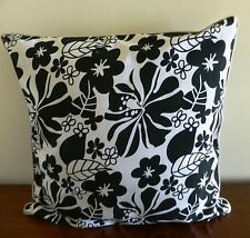 Tropical flowers black and white print cushion cover