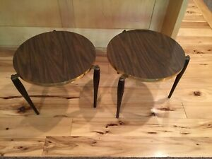 Mid-Century Modern Set Of 2 Round Stacking End Tables Wood Legs & Laminated Top