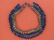 Spectacular FRENCH Louis Rousselet Collar Necklace Blue Beads (NK1827)