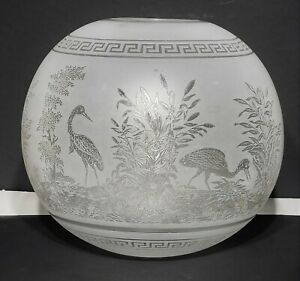 """Antique Victorian Acid Etched Glass Gas Oil Lamp Ball Shade w Birds 6.5"""" Tall"""