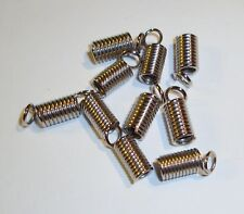 Silver metal spring coil & loop end crimp spacer tube bead fits 2mm cord 24pc