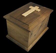 Handmade Walnut Urn - Bevel Top w/Birdseye Maple Cross - Adults under 233 lbs