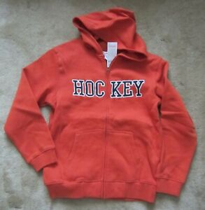 NWT Boy's GYMBOREE Orange Sweatshirt Hoodie L(10-12) Full Zipper Hockey